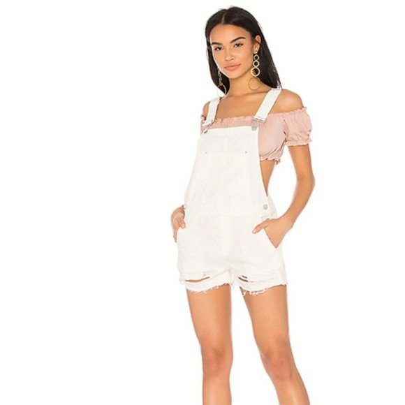 Blank NYC White Distressed Short Overalls 29